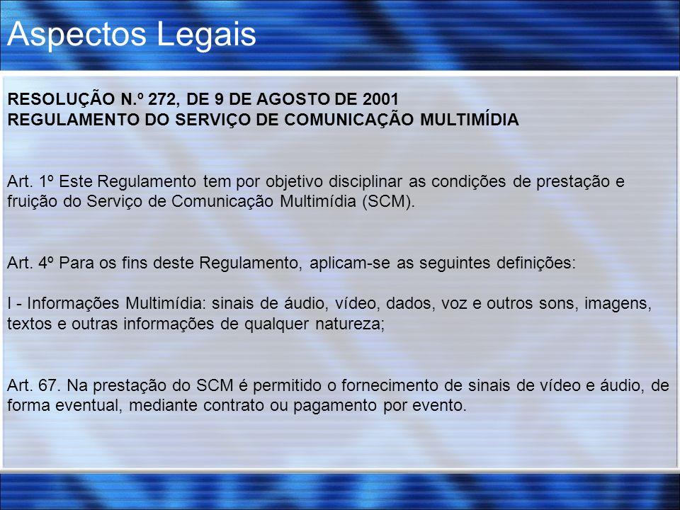 Aspectos Legais RESOLUÇÃO N.º 272, DE 9 DE AGOSTO DE 2001
