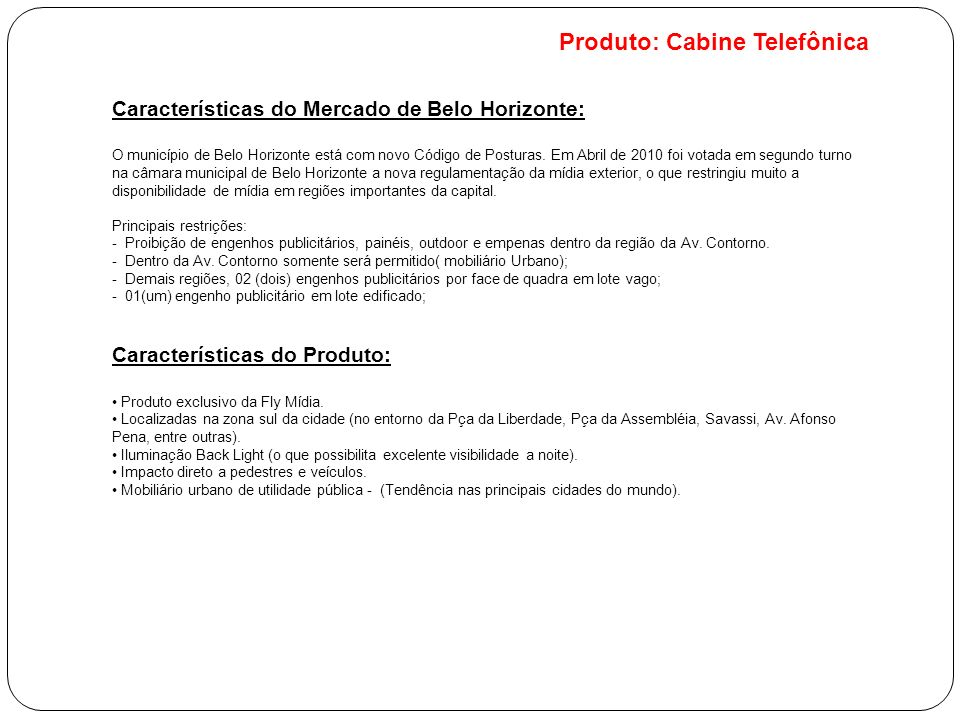 Produto: Cabine Telefônica
