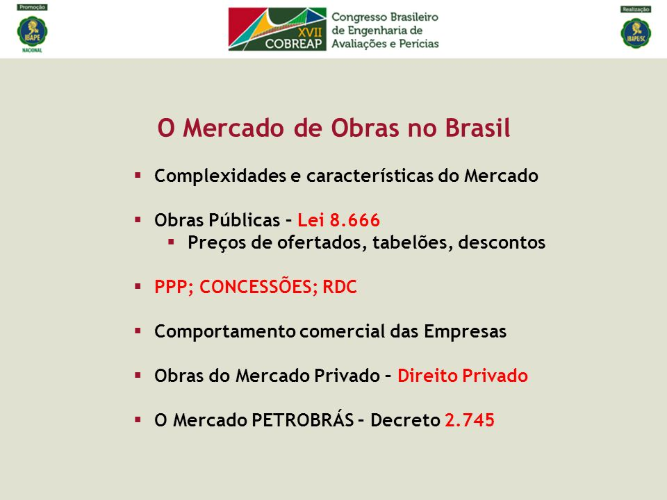 O Mercado de Obras no Brasil