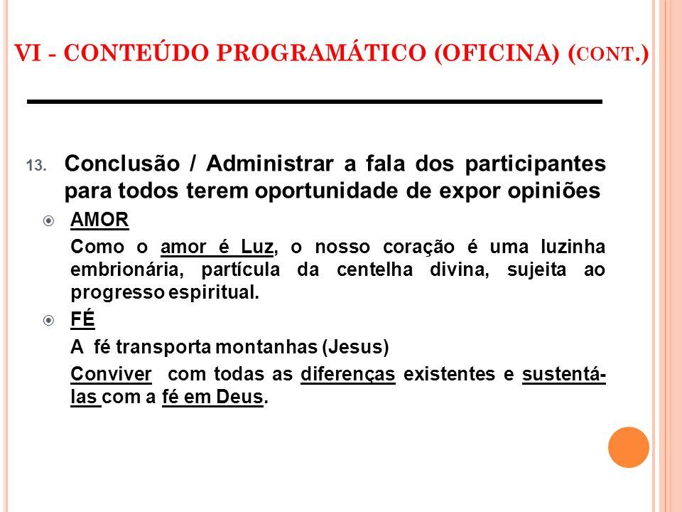 VI - CONTEÚDO PROGRAMÁTICO (OFICINA) (cont.)