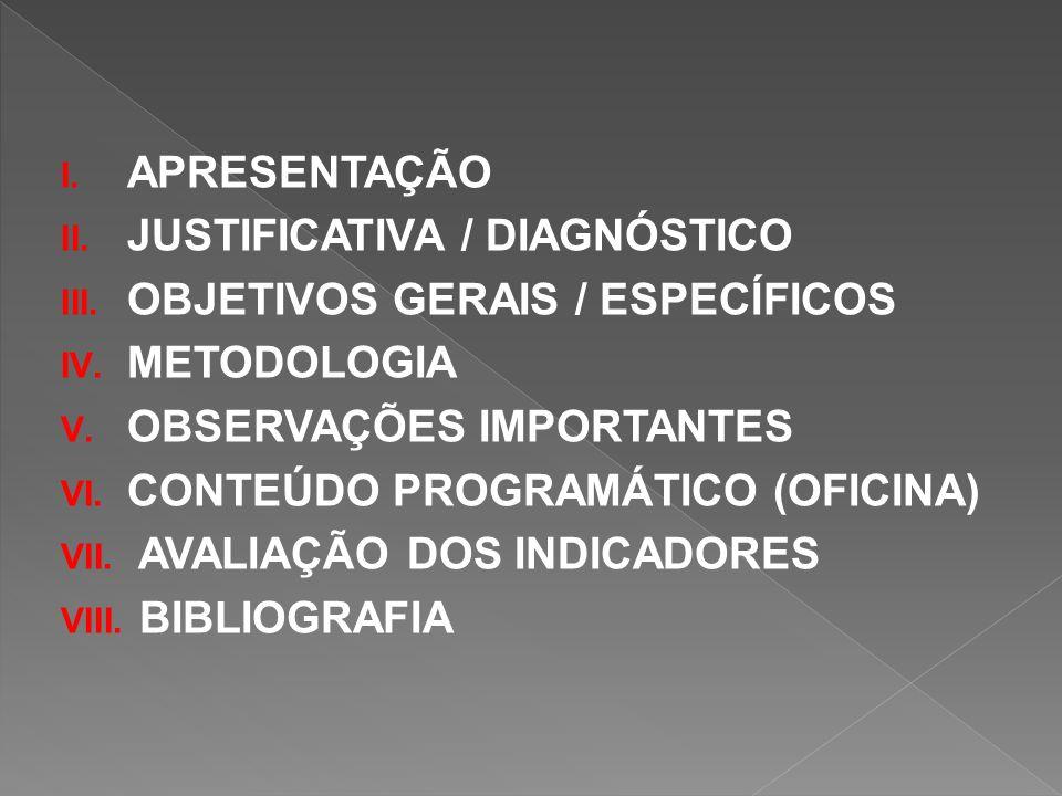 APRESENTAÇÃO JUSTIFICATIVA / DIAGNÓSTICO. OBJETIVOS GERAIS / ESPECÍFICOS. METODOLOGIA. OBSERVAÇÕES IMPORTANTES.