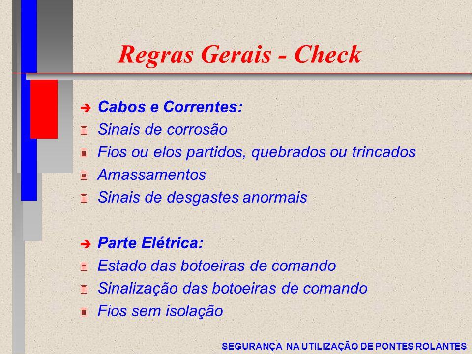 Regras Gerais - Check Cabos e Correntes: Sinais de corrosão