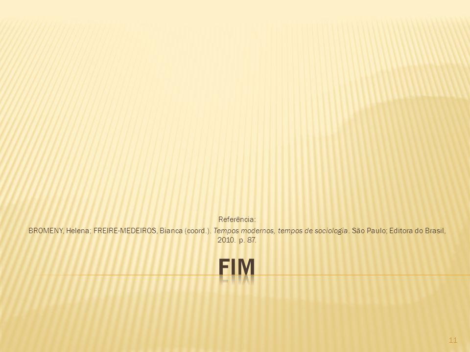 Referência: BROMENY, Helena; FREIRE-MEDEIROS, Bianca (coord.). Tempos modernos, tempos de sociologia. São Paulo; Editora do Brasil, 2010. p. 87.
