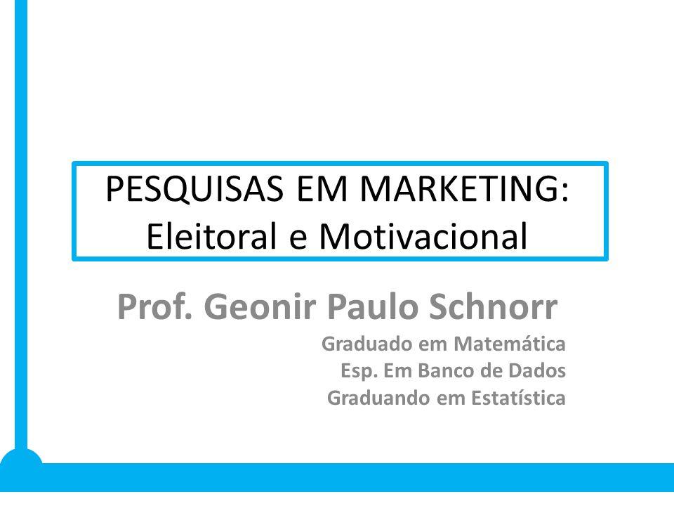PESQUISAS EM MARKETING: Eleitoral e Motivacional