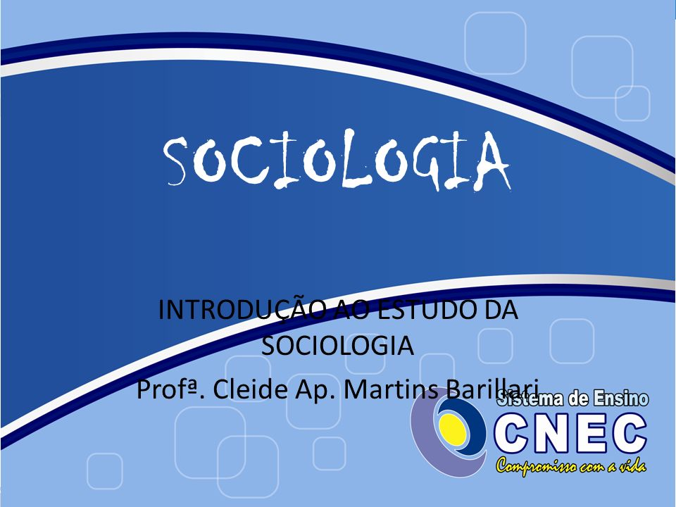 INTRODUÇÃO AO ESTUDO DA SOCIOLOGIA Profª. Cleide Ap. Martins Barillari