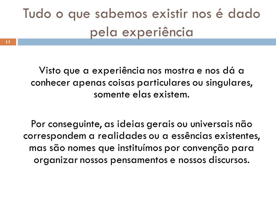 Tudo o que sabemos existir nos é dado pela experiência