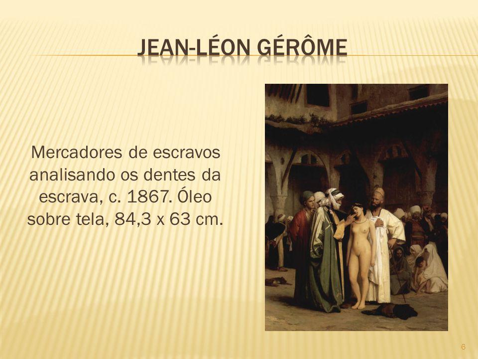 Jean-léon gérôme Mercadores de escravos analisando os dentes da escrava, c.