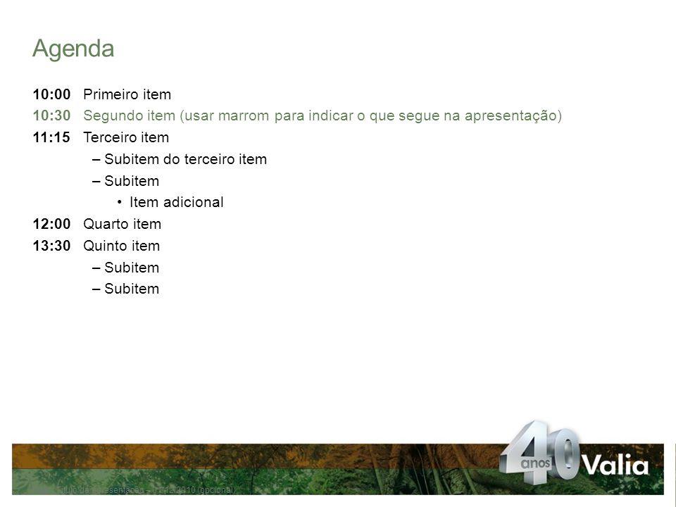 Agenda 10:00 Primeiro item. 10:30 Segundo item (usar marrom para indicar o que segue na apresentação)