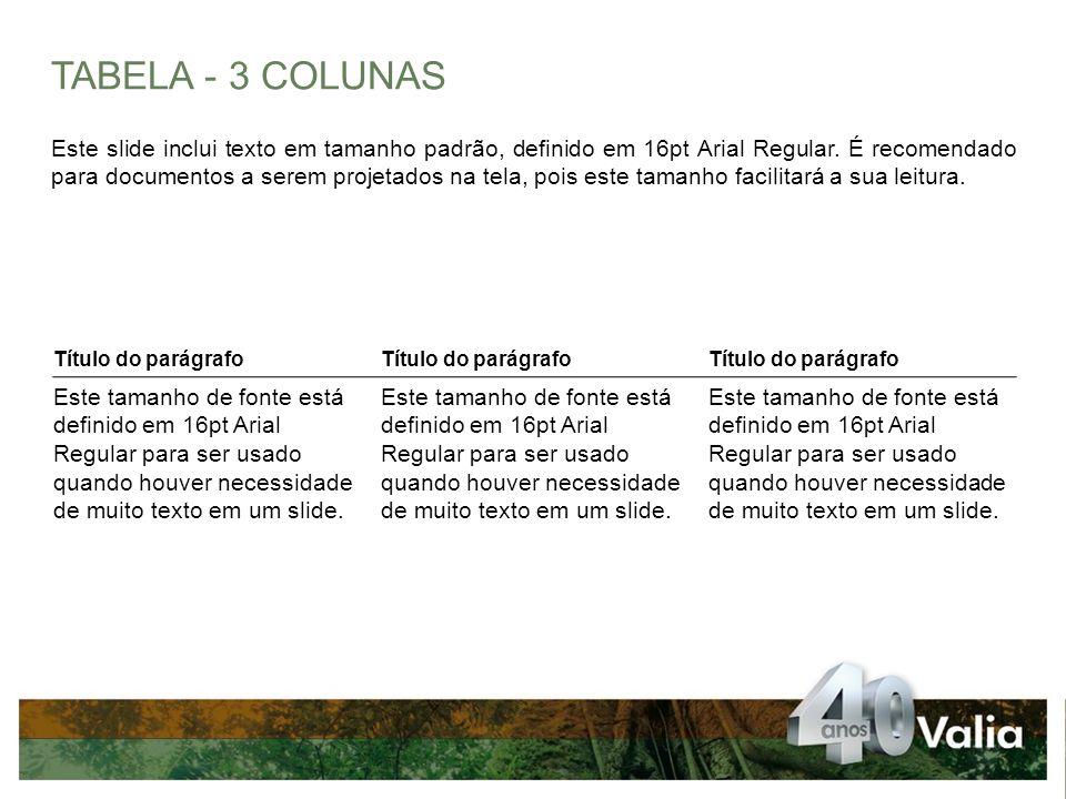 TABELA - 3 COLUNAS