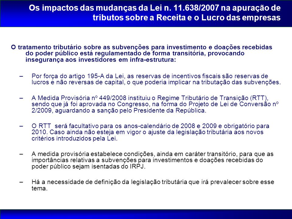 Os impactos das mudanças da Lei n. 11
