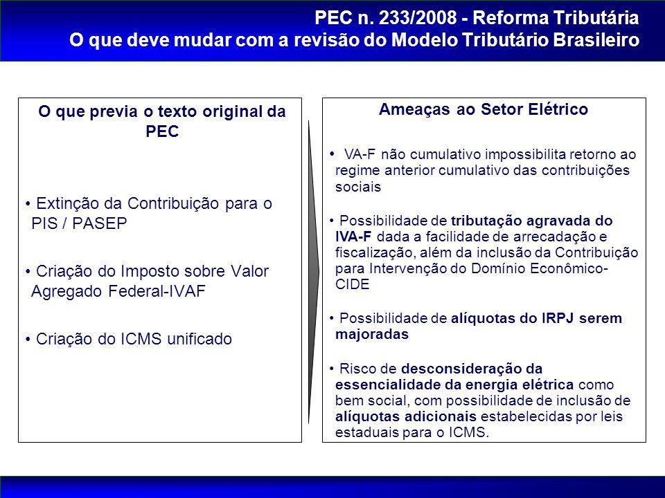 O que previa o texto original da PEC Ameaças ao Setor Elétrico