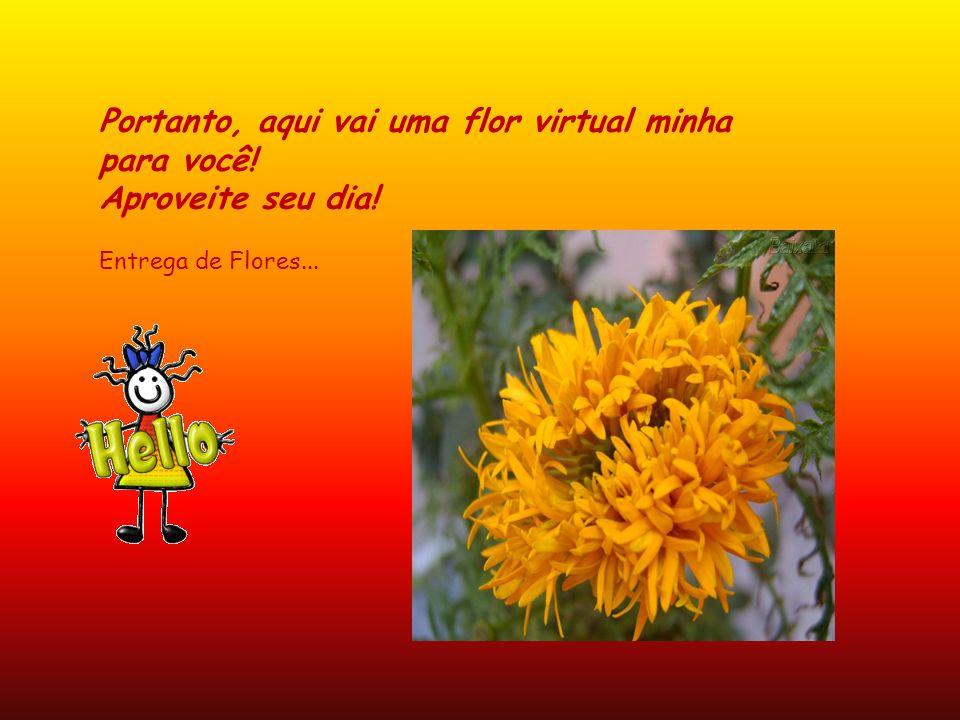 Portanto, aqui vai uma flor virtual minha para você. Aproveite seu dia