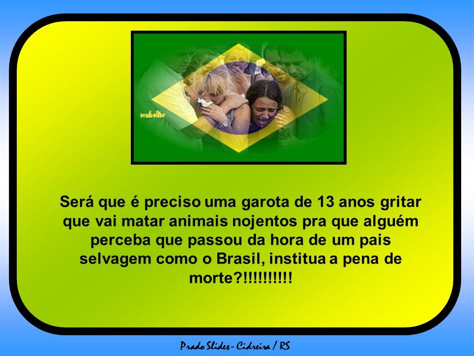 Será que é preciso uma garota de 13 anos gritar que vai matar animais nojentos pra que alguém perceba que passou da hora de um pais selvagem como o Brasil, institua a pena de morte !!!!!!!!!!