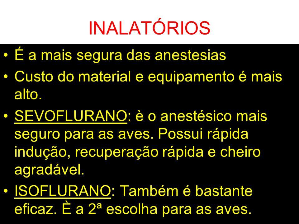 INALATÓRIOS É a mais segura das anestesias
