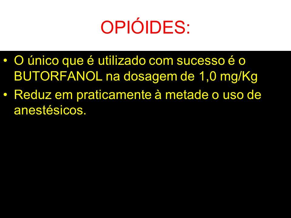 OPIÓIDES: O único que é utilizado com sucesso é o BUTORFANOL na dosagem de 1,0 mg/Kg.