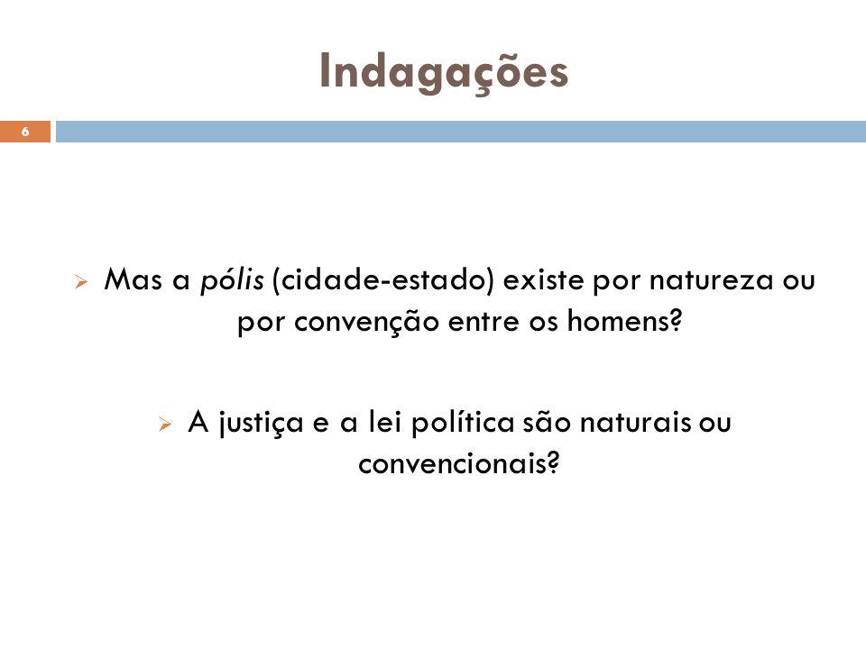 A justiça e a lei política são naturais ou convencionais