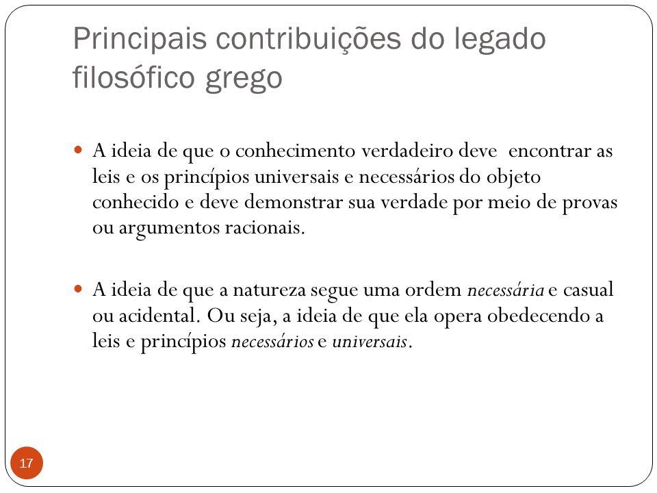 Principais contribuições do legado filosófico grego