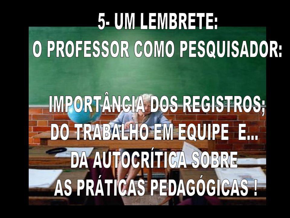 O PROFESSOR COMO PESQUISADOR: IMPORTÂNCIA DOS REGISTROS;