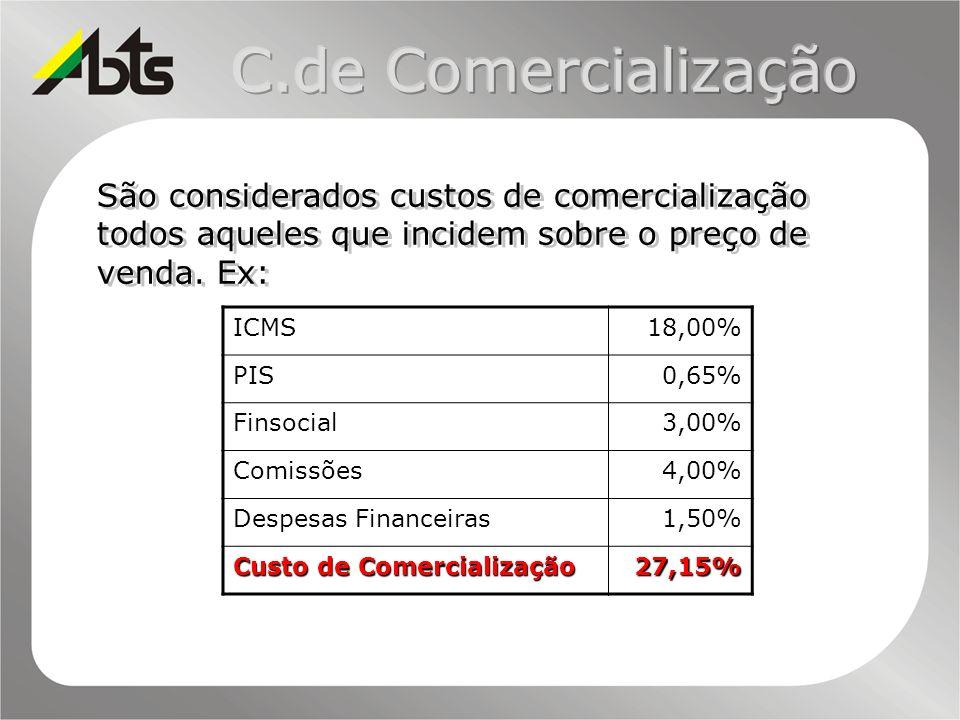 C.de ComercializaçãoSão considerados custos de comercialização todos aqueles que incidem sobre o preço de venda. Ex: