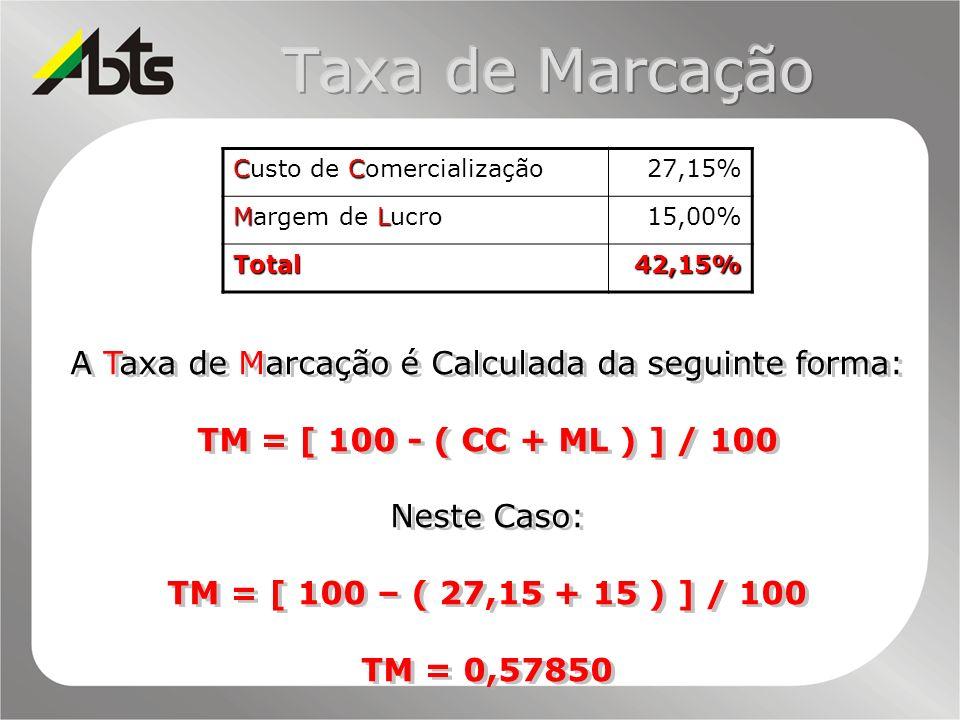 A Taxa de Marcação é Calculada da seguinte forma: