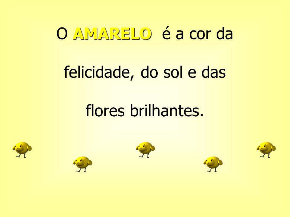 O AMARELO é a cor da felicidade, do sol e das flores brilhantes.