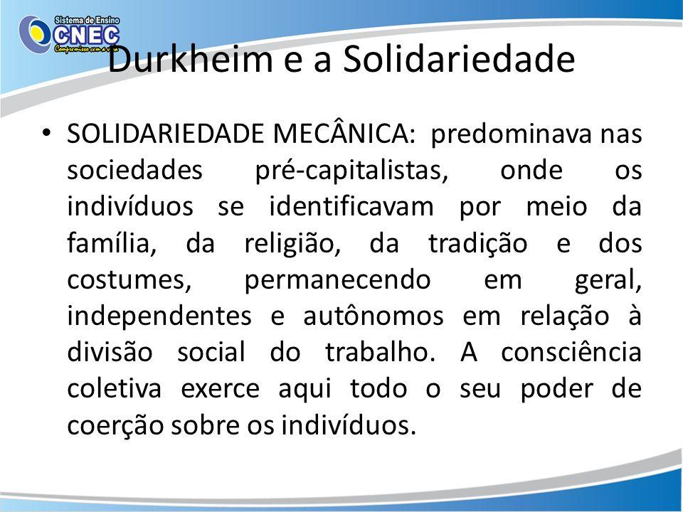 Durkheim e a Solidariedade