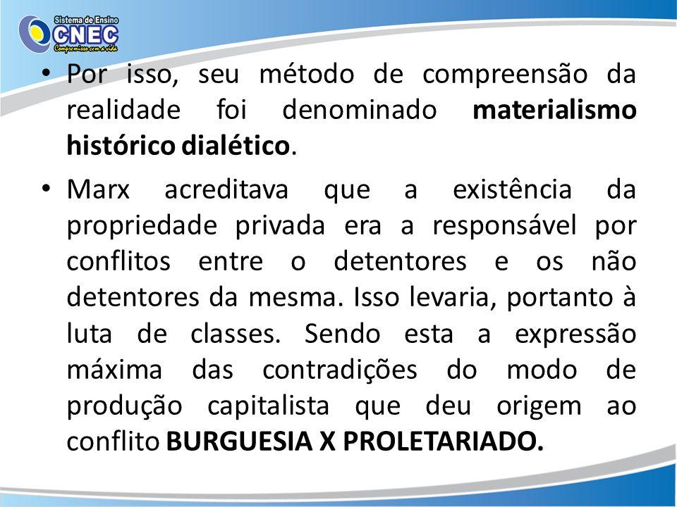 Por isso, seu método de compreensão da realidade foi denominado materialismo histórico dialético.