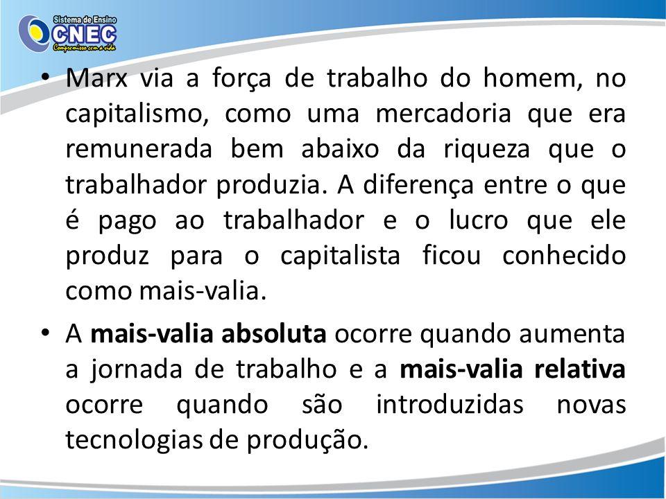 Marx via a força de trabalho do homem, no capitalismo, como uma mercadoria que era remunerada bem abaixo da riqueza que o trabalhador produzia. A diferença entre o que é pago ao trabalhador e o lucro que ele produz para o capitalista ficou conhecido como mais-valia.