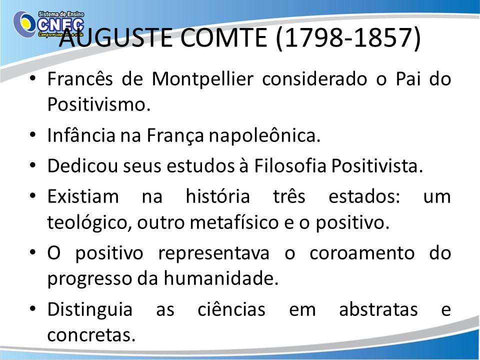 AUGUSTE COMTE (1798-1857) Francês de Montpellier considerado o Pai do Positivismo. Infância na França napoleônica.