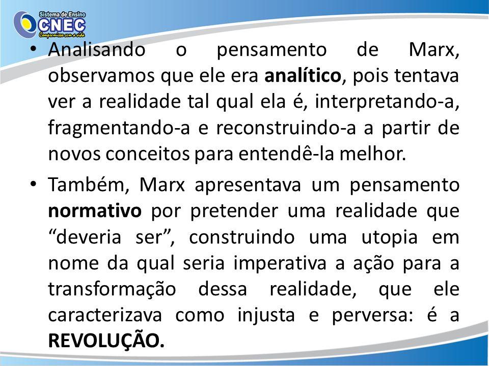 Analisando o pensamento de Marx, observamos que ele era analítico, pois tentava ver a realidade tal qual ela é, interpretando-a, fragmentando-a e reconstruindo-a a partir de novos conceitos para entendê-la melhor.