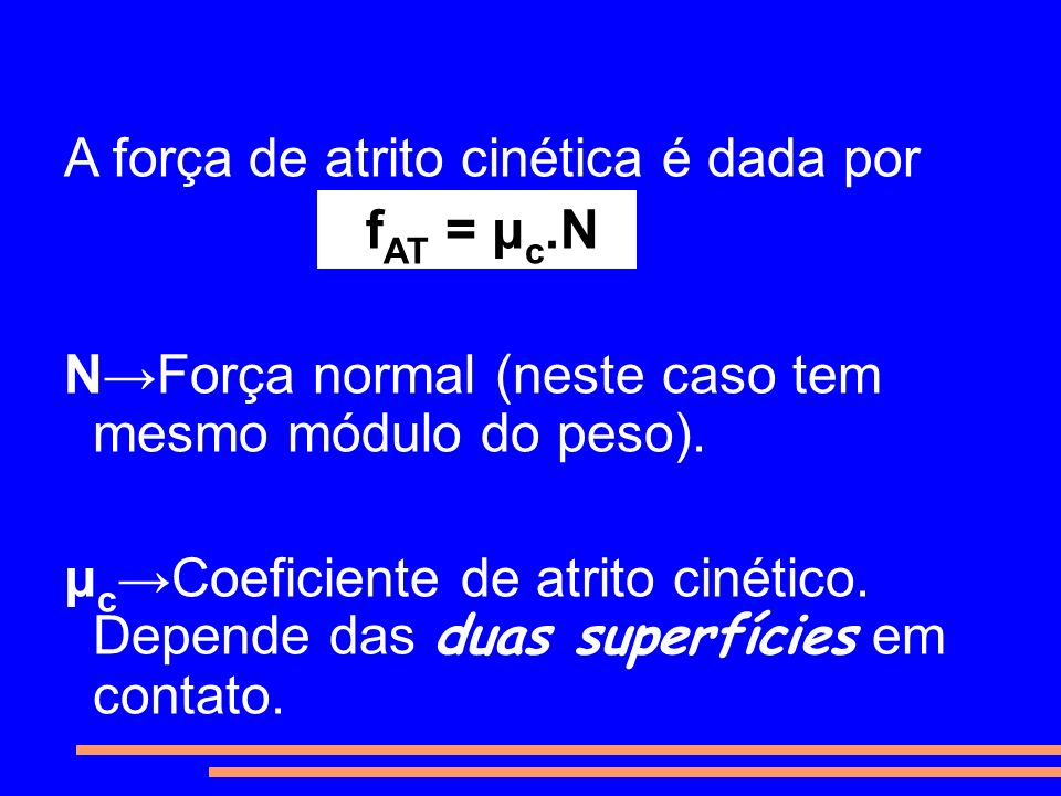 A força de atrito cinética é dada por fAT = μc.N