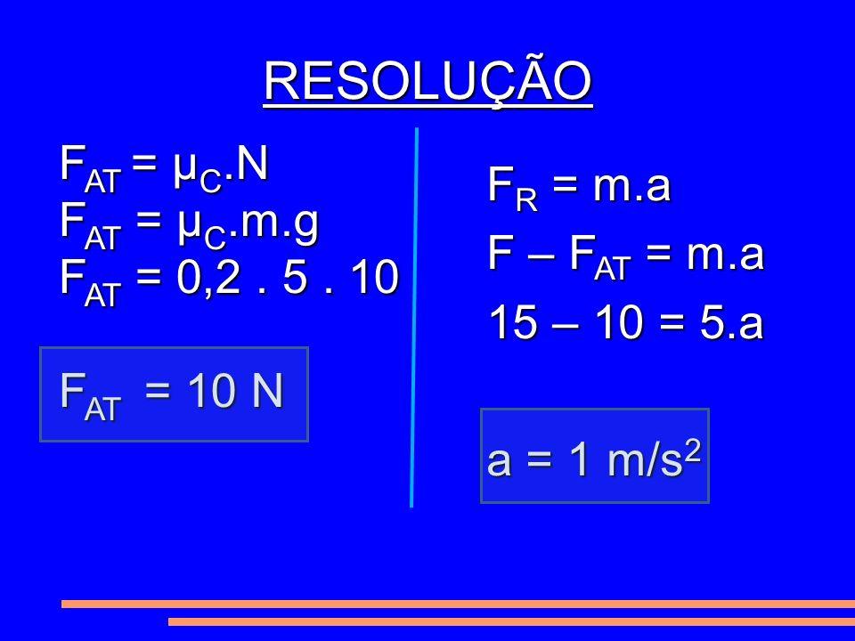 RESOLUÇÃO FAT = μC.N FR = m.a FAT = μC.m.g F – FAT = m.a