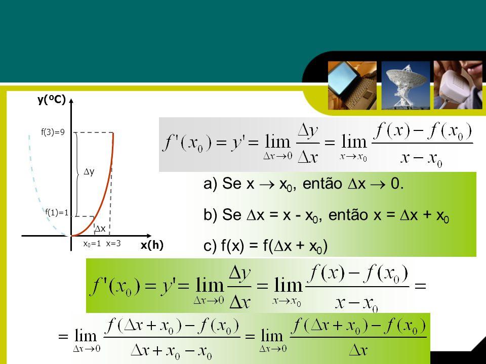 b) Se x = x - x0, então x = x + x0 c) f(x) = f(x + x0)