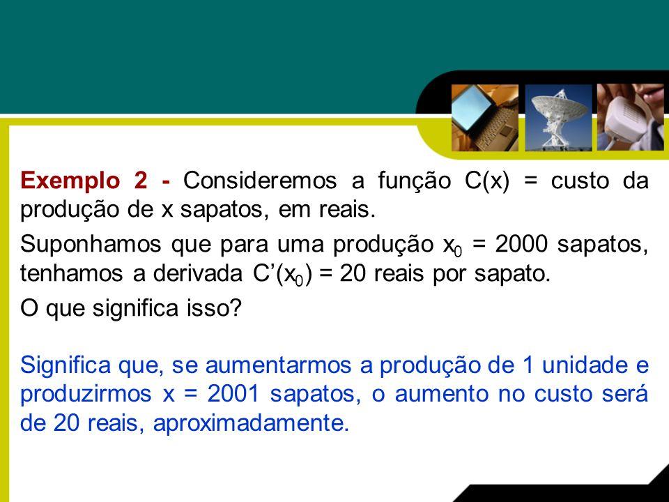 Exemplo 2 - Consideremos a função C(x) = custo da produção de x sapatos, em reais.