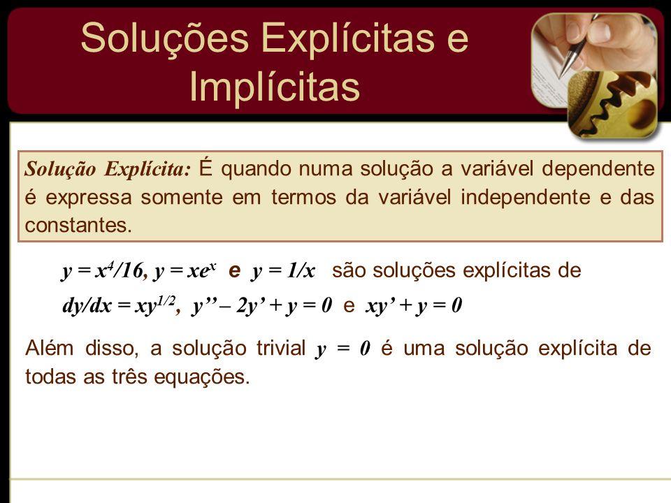 Soluções Explícitas e Implícitas