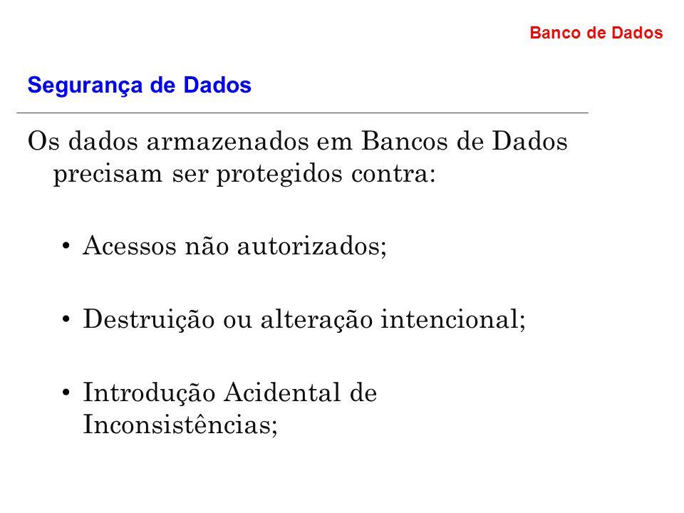 Acessos não autorizados; Destruição ou alteração intencional;