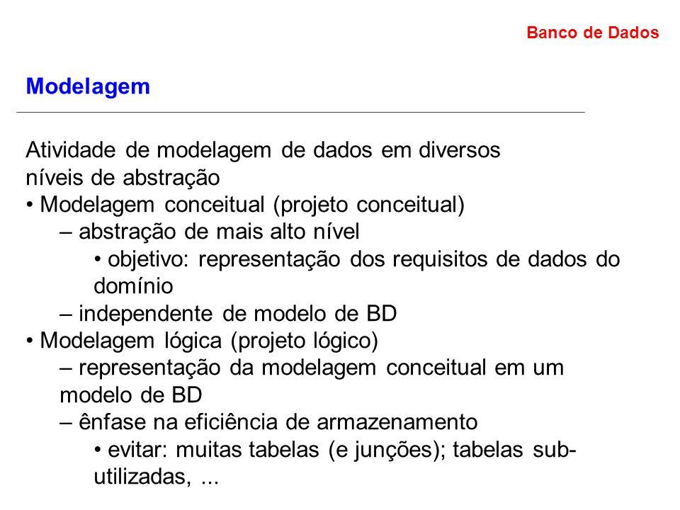 Modelagem Atividade de modelagem de dados em diversos. níveis de abstração. • Modelagem conceitual (projeto conceitual)