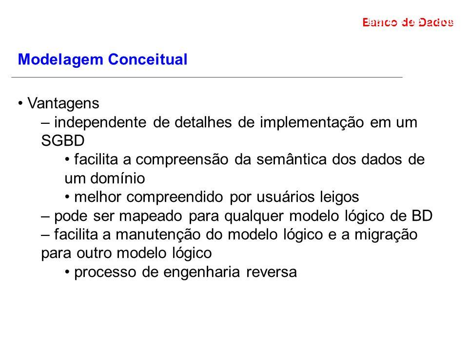 – independente de detalhes de implementação em um SGBD