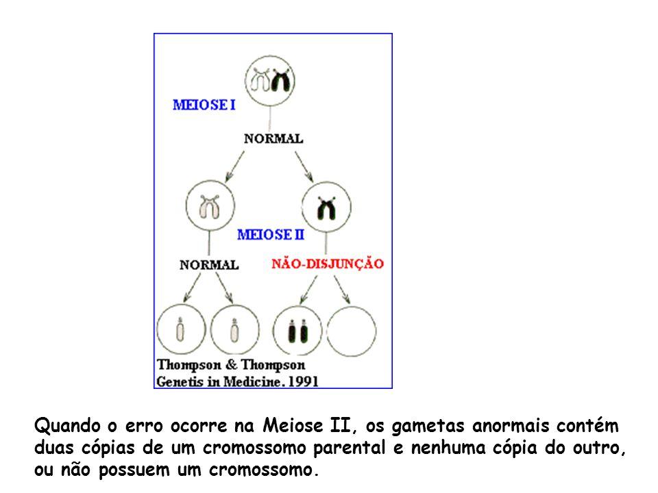 Quando o erro ocorre na Meiose II, os gametas anormais contém duas cópias de um cromossomo parental e nenhuma cópia do outro, ou não possuem um cromossomo.
