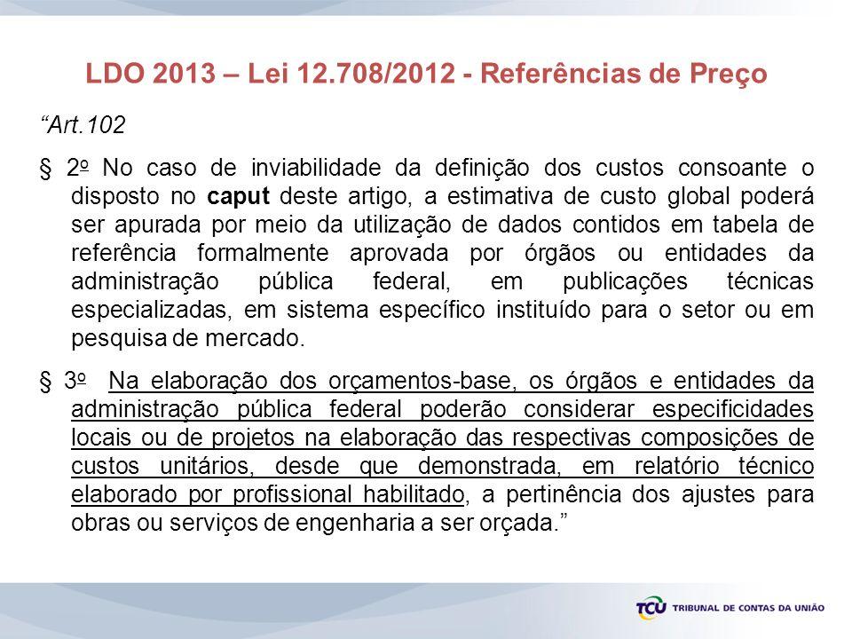 LDO 2013 – Lei 12.708/2012 - Referências de Preço