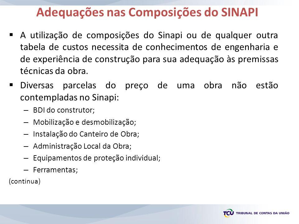 Adequações nas Composições do SINAPI
