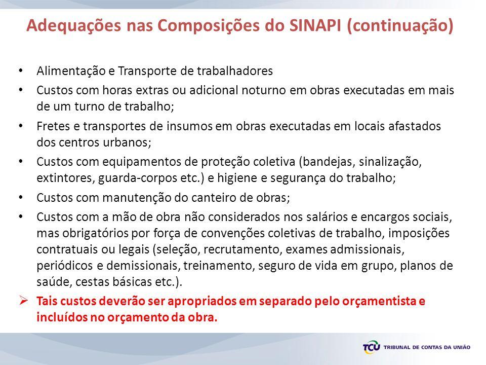 Adequações nas Composições do SINAPI (continuação)