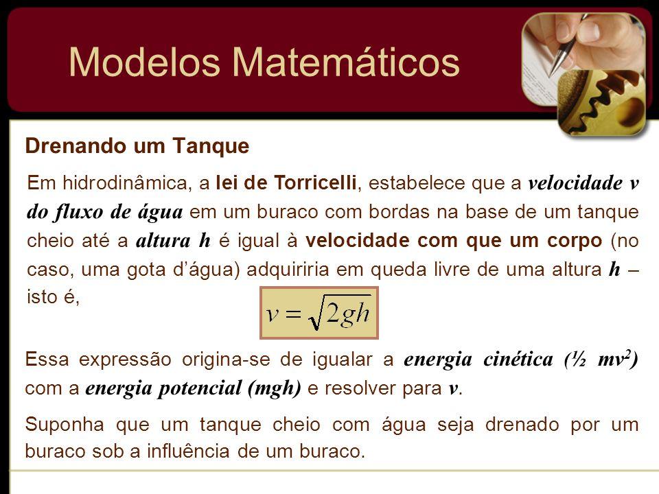 Modelos Matemáticos Drenando um Tanque