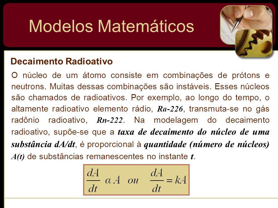 Modelos Matemáticos Decaimento Radioativo
