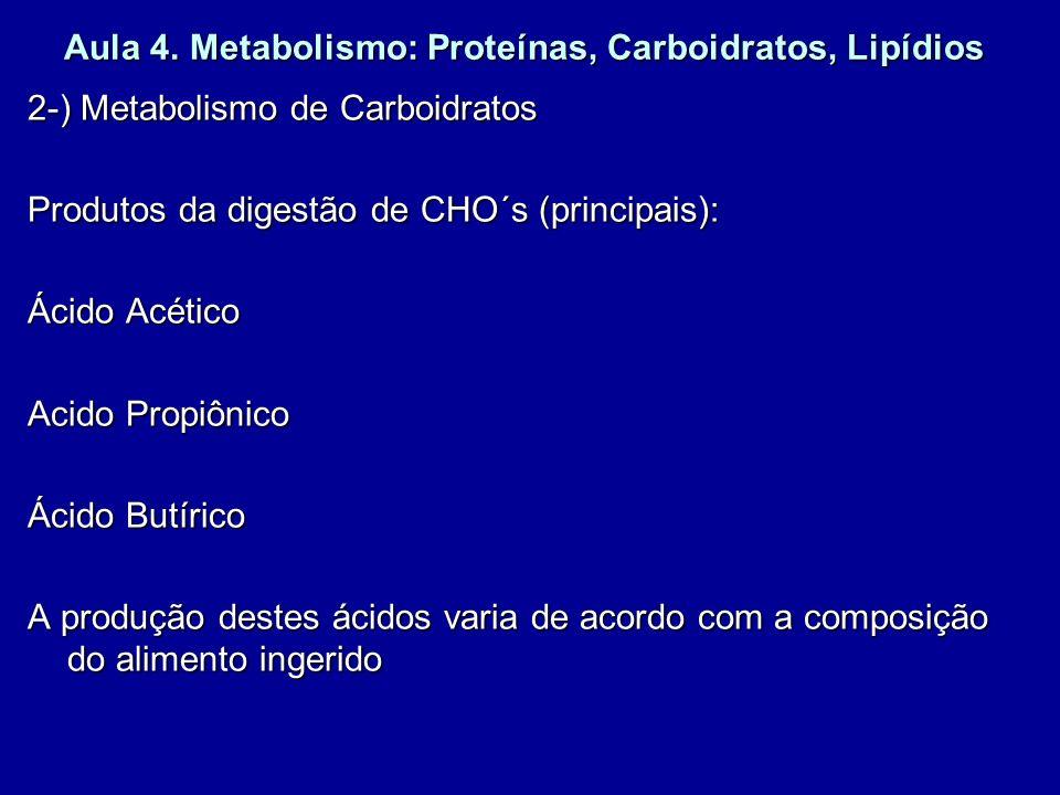 Aula 4. Metabolismo: Proteínas, Carboidratos, Lipídios