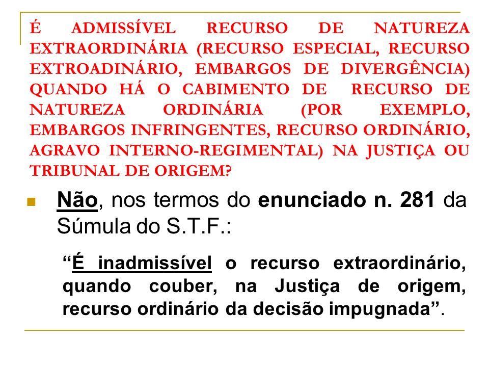 Não, nos termos do enunciado n. 281 da Súmula do S.T.F.: