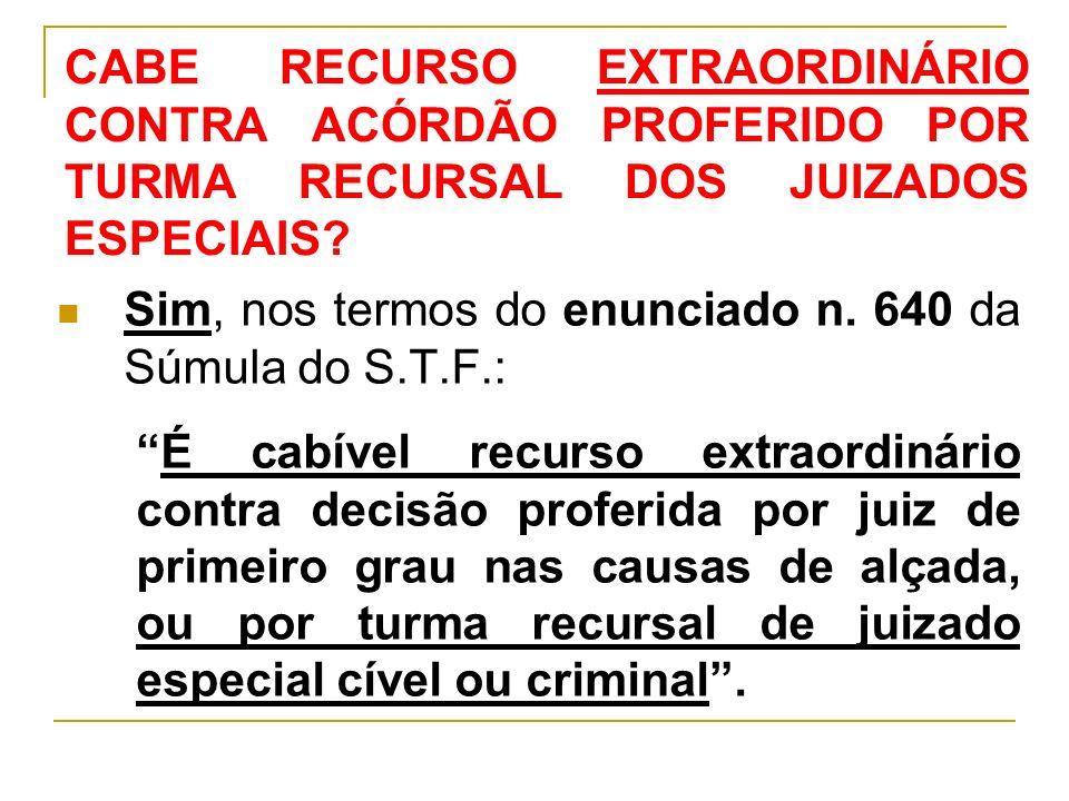 CABE RECURSO EXTRAORDINÁRIO CONTRA ACÓRDÃO PROFERIDO POR TURMA RECURSAL DOS JUIZADOS ESPECIAIS