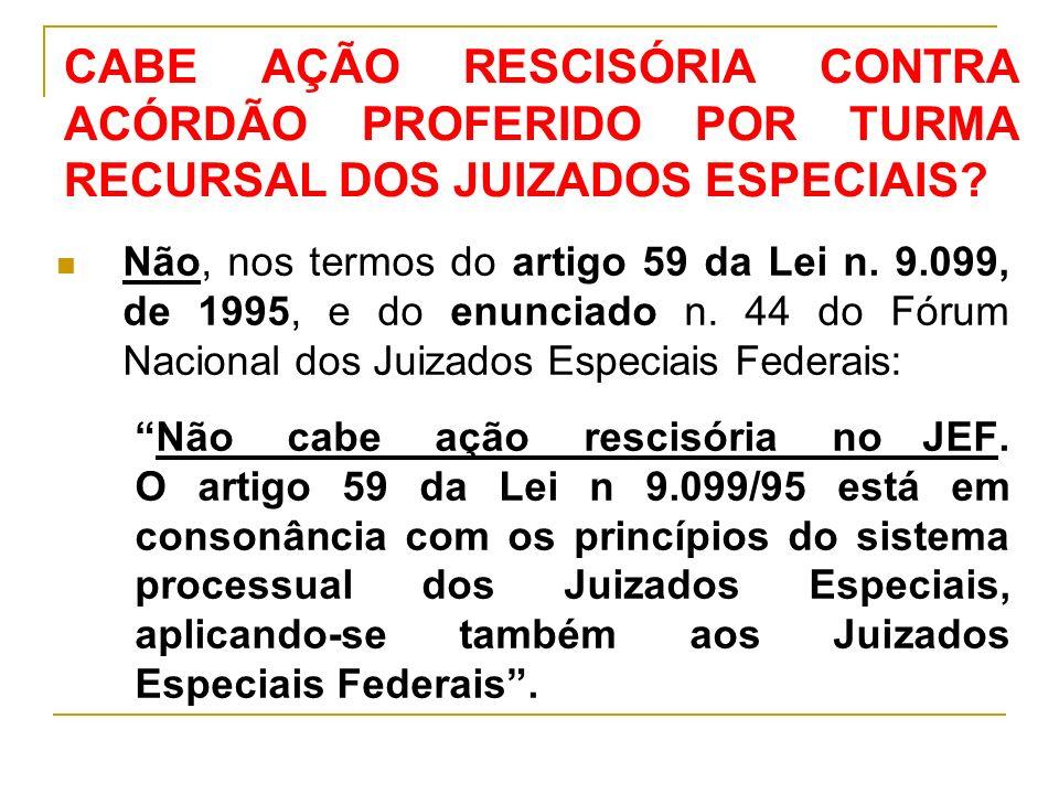 CABE AÇÃO RESCISÓRIA CONTRA ACÓRDÃO PROFERIDO POR TURMA RECURSAL DOS JUIZADOS ESPECIAIS