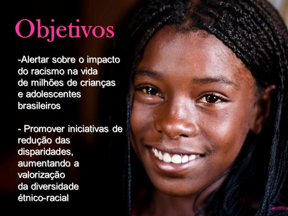 Objetivos Alertar sobre o impacto do racismo na vida de milhões de crianças e adolescentes brasileiros.