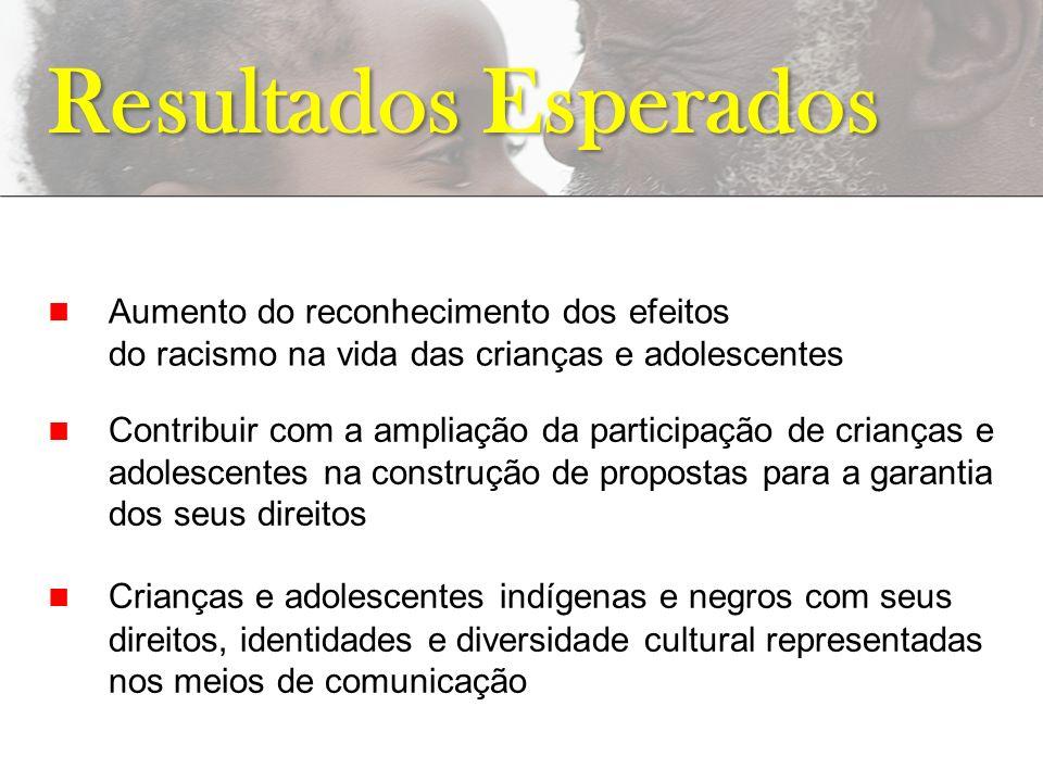 Resultados Esperados n Aumento do reconhecimento dos efeitos do racismo na vida das crianças e adolescentes.